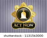 golden emblem or badge with... | Shutterstock .eps vector #1131563000