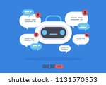 cute robot icon with speech... | Shutterstock .eps vector #1131570353