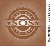 sos badge with wooden background | Shutterstock .eps vector #1131573230