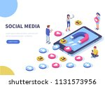 social media concept with... | Shutterstock . vector #1131573956