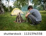 yellow campground.tourism and... | Shutterstock . vector #1131596558