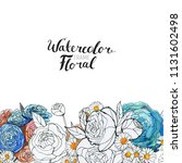 watercolor floral background....   Shutterstock . vector #1131602498