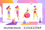woman workout fitness  pilates  ...   Shutterstock .eps vector #1131612569