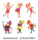 dwarves and elves. funny... | Shutterstock .eps vector #1131621869
