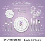 formal dinner place setting... | Shutterstock .eps vector #1131634193
