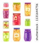 preserved fruit and vegetables... | Shutterstock .eps vector #1131644756
