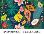 exotic tropical garden. wide... | Shutterstock .eps vector #1131646553