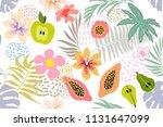 exotic tropical garden. wide... | Shutterstock .eps vector #1131647099