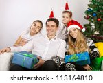 happy family with christmas... | Shutterstock . vector #113164810
