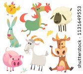cute farm baby animals set... | Shutterstock .eps vector #1131649553