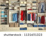 large wardrobe closet with... | Shutterstock . vector #1131651323