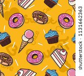 donuts  cakes  ice cream bright ... | Shutterstock .eps vector #1131662363