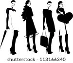 silhouette fashion girls | Shutterstock .eps vector #113166340
