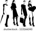 silhouette fashion girls | Shutterstock .eps vector #113166340