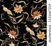 vintage flowers and birds... | Shutterstock .eps vector #1131667319