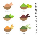 a collection of indian herbs in ... | Shutterstock .eps vector #1131679193