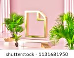 isolated gold icon with plants... | Shutterstock . vector #1131681950