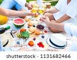 summer picnic basket on the...   Shutterstock . vector #1131682466