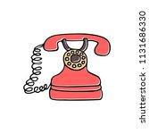 retro phone sketch illustration.... | Shutterstock .eps vector #1131686330