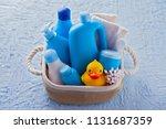 basket of baby cosmetics on...   Shutterstock . vector #1131687359