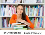 young woman college student and ... | Shutterstock . vector #1131696170