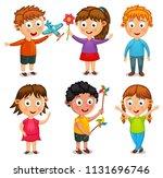 group of happy kids cartoon...   Shutterstock .eps vector #1131696746