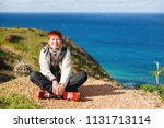 happy wide smiling redhead... | Shutterstock . vector #1131713114