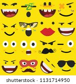 cartoon faces expressions vector | Shutterstock .eps vector #1131714950