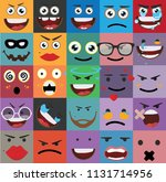 cartoon faces expressions vector | Shutterstock .eps vector #1131714956