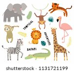 Stock vector set of cute funny animals flamingo sloth crocodile elephant giraffe lion tiger monkey zebra 1131721199