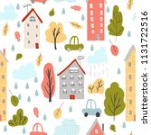 seamless pattern with autumn... | Shutterstock .eps vector #1131722516