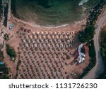 aerial top view of a beach with ... | Shutterstock . vector #1131726230