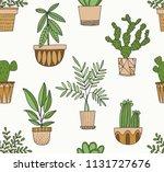 plants in pots vector pattern... | Shutterstock .eps vector #1131727676
