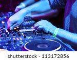 dj mixes the track in the... | Shutterstock . vector #113172856