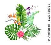 watercolor tropical bouquet... | Shutterstock . vector #1131730799