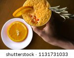 milk shake with orange and sea... | Shutterstock . vector #1131731033
