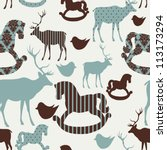 Pattern With Deers And Rocking...