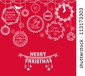 vintage christmas card   for... | Shutterstock .eps vector #113173303