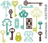 collection of antique keys  ... | Shutterstock .eps vector #113173318