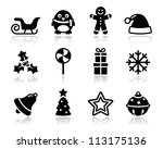 christmas black icons with...