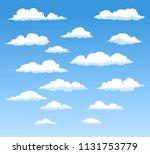 vector flat cartoon cloud on... | Shutterstock .eps vector #1131753779