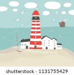 vector landscape with a... | Shutterstock .eps vector #1131755429
