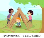 illustration of stickman kids... | Shutterstock .eps vector #1131763880