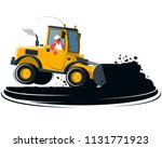flat cartoon wheel loader with... | Shutterstock .eps vector #1131771923