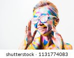 smiling attractive girl with...   Shutterstock . vector #1131774083
