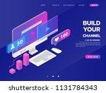 build your own video blog...   Shutterstock .eps vector #1131784343