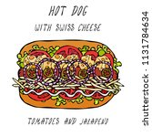 hot dog with swiss cheese  hard ... | Shutterstock .eps vector #1131784634