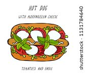 hot dog with mozzarella cheese  ... | Shutterstock .eps vector #1131784640