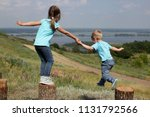 two cute children  sister and...   Shutterstock . vector #1131792566