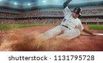 baseball runner slide to the... | Shutterstock . vector #1131795728